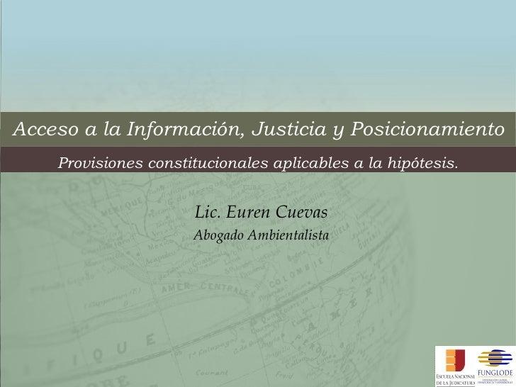 Acceso a la Información, Justicia y Posicionamiento Provisiones constitucionales aplicables a la hipótesis. Lic. Euren Cue...