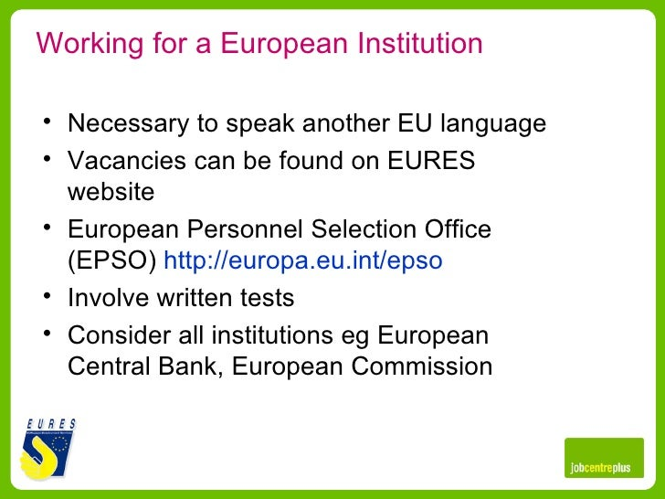 Working in europe - European personnel selection office epso ...