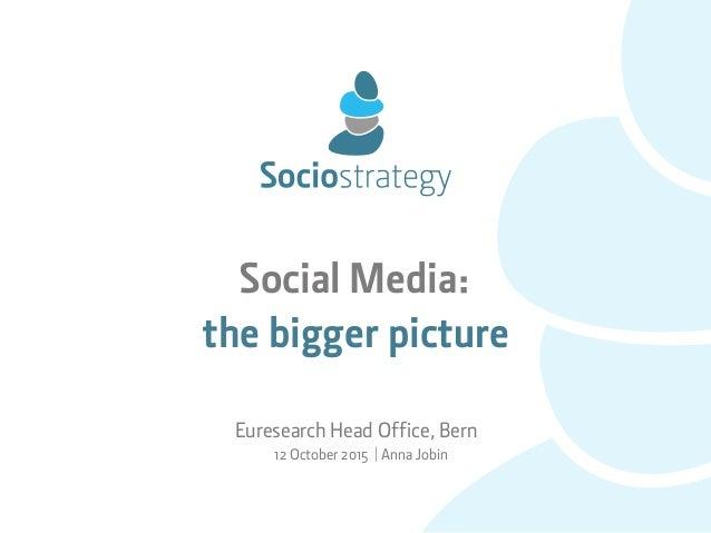 Social Media: the bigger picture Euresearch Head Office, Bern 12 October 2015 | Anna Jobin