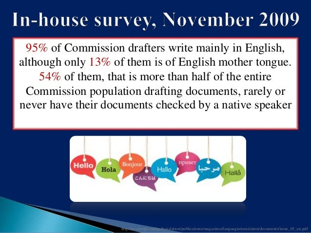 The English used within the European institutions? A difficult register? i.e. subsidiarity A shared though variable mean...