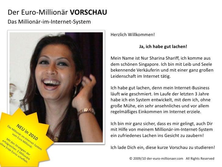 Der Euro-Millionär VORSCHAUDas Millionär-im-Internet-System                                   Herzlich Willkommen!        ...