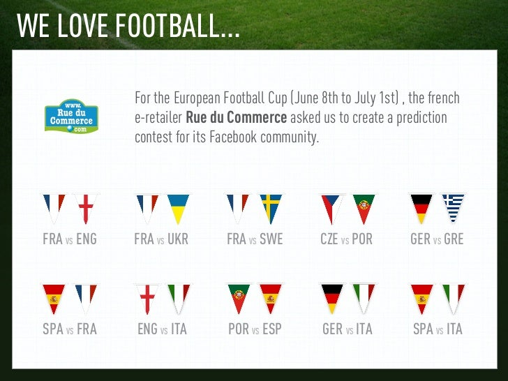 WE LOVE FOOTBALL...               For the European Football Cup (June 8th to July 1st) , the french               e-retail...