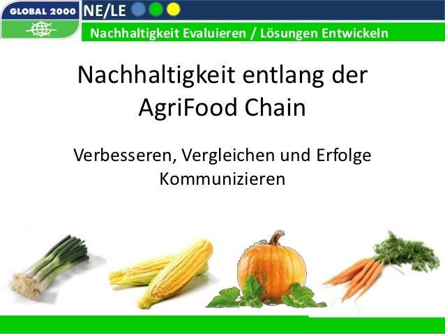 NE/LE  Nachhaltigkeit Evaluieren / Lösungen EntwickelnNachhaltigkeit entlang der    AgriFood ChainVerbesseren, Vergleichen...