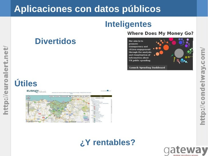 Aplicaciones con datos públicos                       Inteligentes     DivertidosÚtiles                  ¿Y rentables?