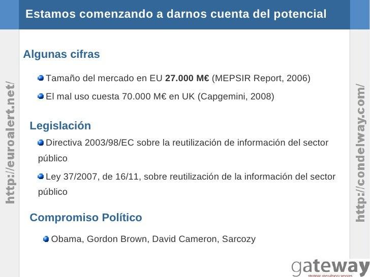 Estamos comenzando a darnos cuenta del potencialAlgunas cifras    Tamaño del mercado en EU 27.000 M€ (MEPSIR Report, 2006)...