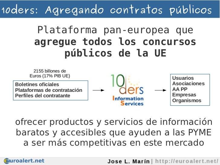 10ders: Agregando contratos públicos         Plataforma pan-europea que         agregue todos los concursos              p...