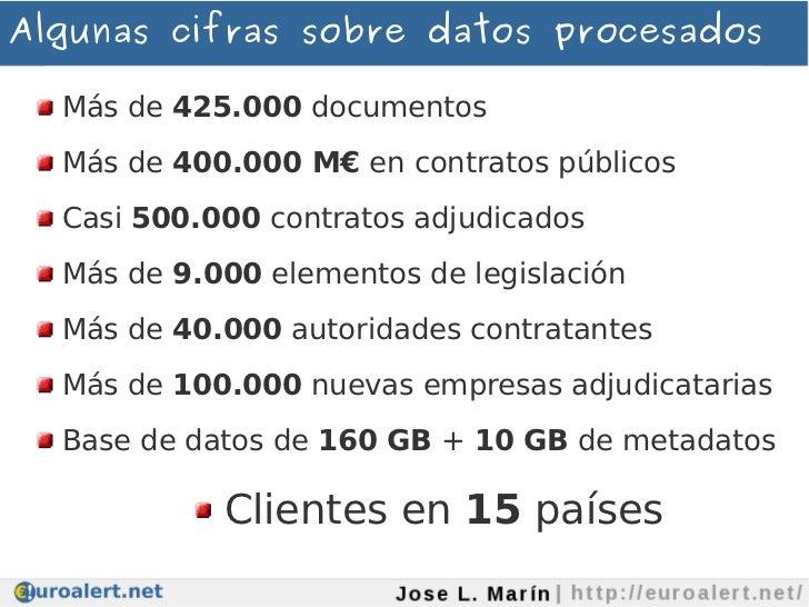 Algunas cifras sobre datos procesados  Más de 425.000 documentos  Más de 400.000 M€ en contratos públicos  Casi 500.000 co...