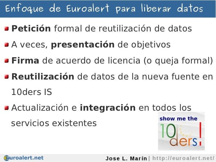 Enfoque de Euroalert para liberar datos Petición formal de reutilización de datos A veces, presentación de objetivos Firma...