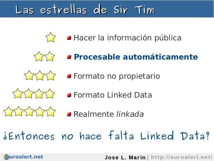 Las estrellas de Sir Tim            Hacer la información pública            Procesable automáticamente            Formato ...