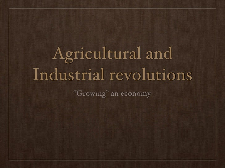"""Agricultural and Industrial revolutions      """"Growing"""" an economy"""