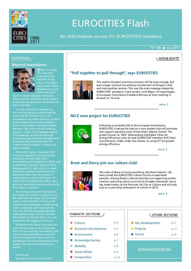 EUROCITIES Flash                                           An information service for EUROCITIES members                  ...