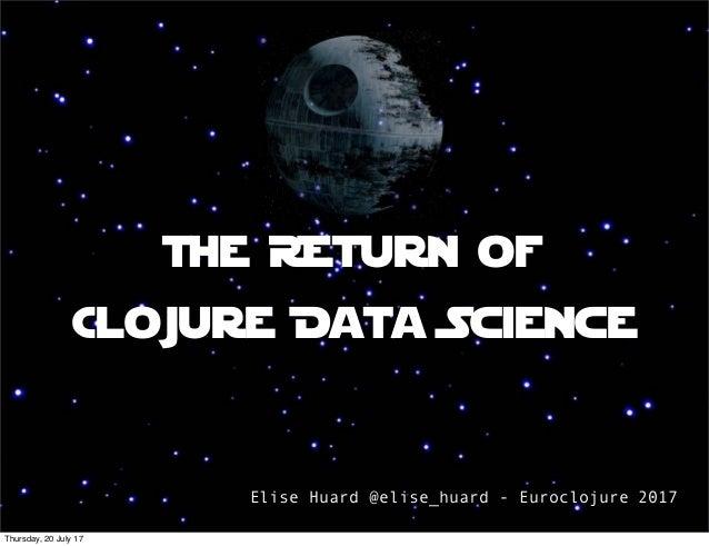 The REturn of Clojure Data Science Elise Huard @elise_huard - Euroclojure 2017 Thursday, 20 July 17