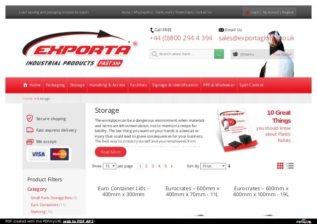 Load securing and packaging products for export About | Why Exporta | Charity work | Testimonials | Contact Us Log in | My...