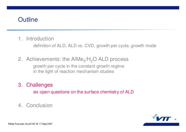 Riikka Puurunen, EuroCVD-16, 17 Sept 2007 16 Outline 1. Introduction definition of ALD, ALD vs. CVD, growth per cycle, gro...