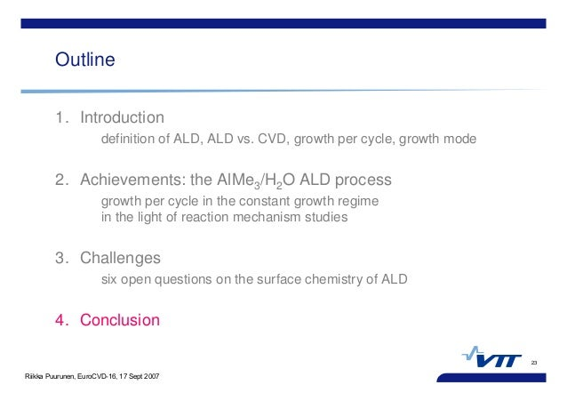 Riikka Puurunen, EuroCVD-16, 17 Sept 2007 23 Outline 1. Introduction definition of ALD, ALD vs. CVD, growth per cycle, gro...