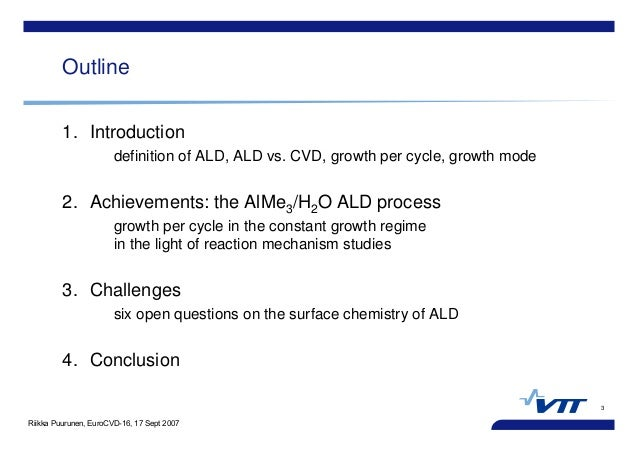 Riikka Puurunen, EuroCVD-16, 17 Sept 2007 3 Outline 1. Introduction definition of ALD, ALD vs. CVD, growth per cycle, grow...