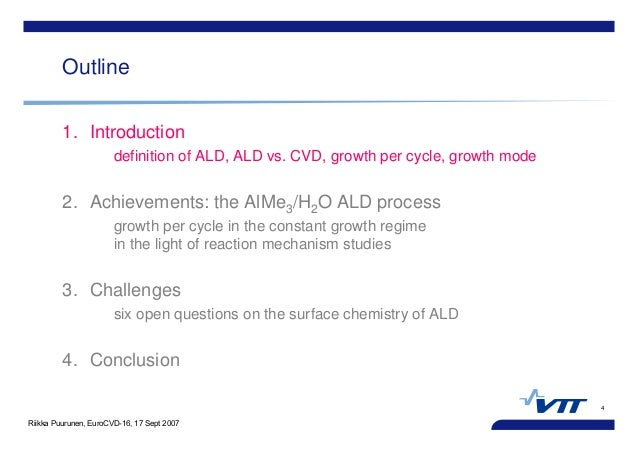 Riikka Puurunen, EuroCVD-16, 17 Sept 2007 4 Outline 1. Introduction definition of ALD, ALD vs. CVD, growth per cycle, grow...