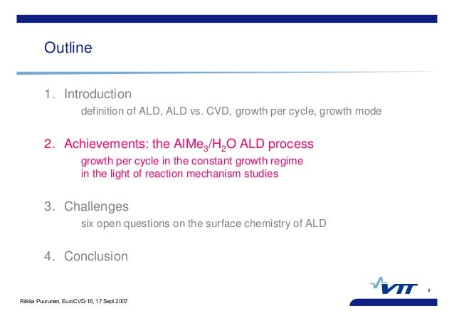 Riikka Puurunen, EuroCVD-16, 17 Sept 2007 9 Outline 1. Introduction definition of ALD, ALD vs. CVD, growth per cycle, grow...