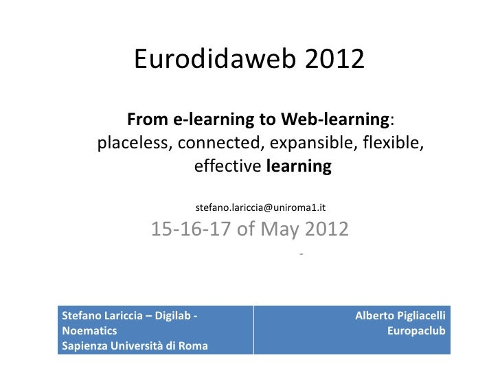 Eurodidaweb 2012          From e-learning to Web-learning:      placeless, connected, expansible, flexible,               ...