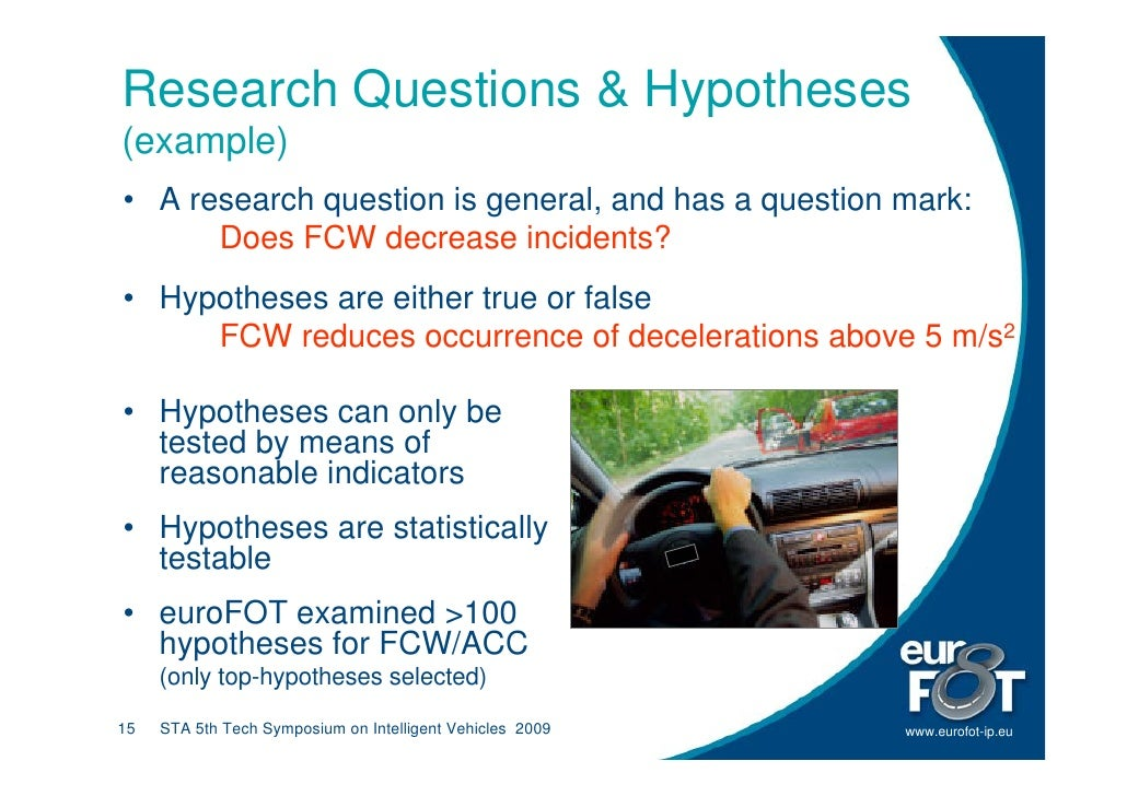 Research Questions & Hypotheses (example) • A research question is general, and has a question mark:       Does FCW decrea...