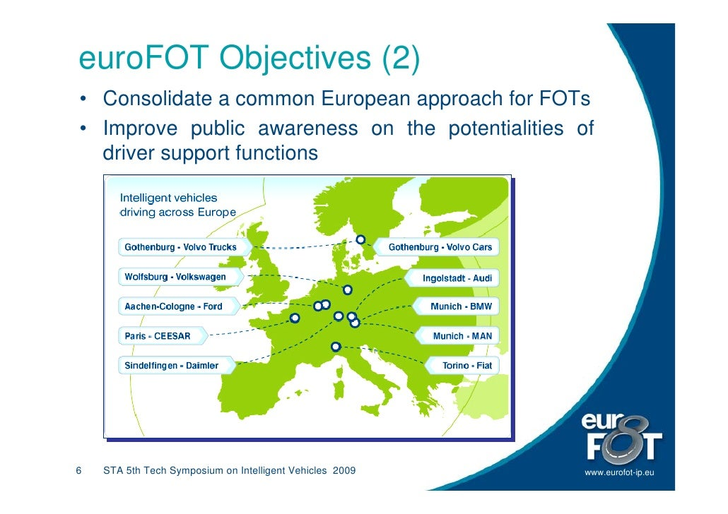 euroFOT Objectives (2) • Consolidate a common European approach for FOTs • Improve public awareness on the potentialities ...