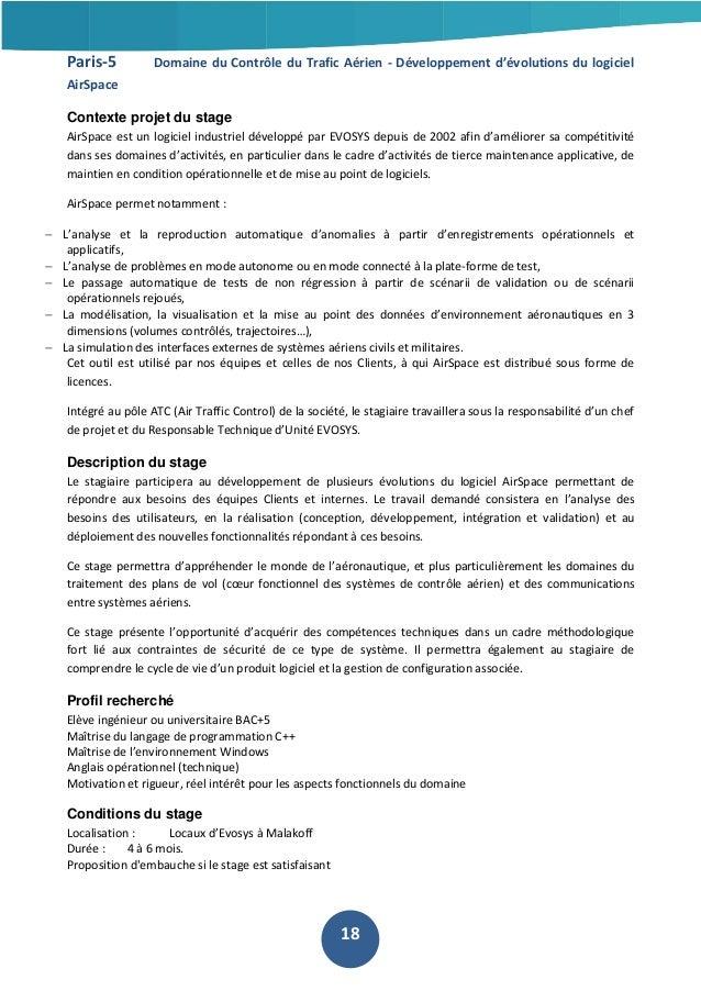 Paris-5  Domaine du Contrôle du Trafic Aérien - Développement d'évolutions du logiciel  AirSpace Contexte projet du stage ...