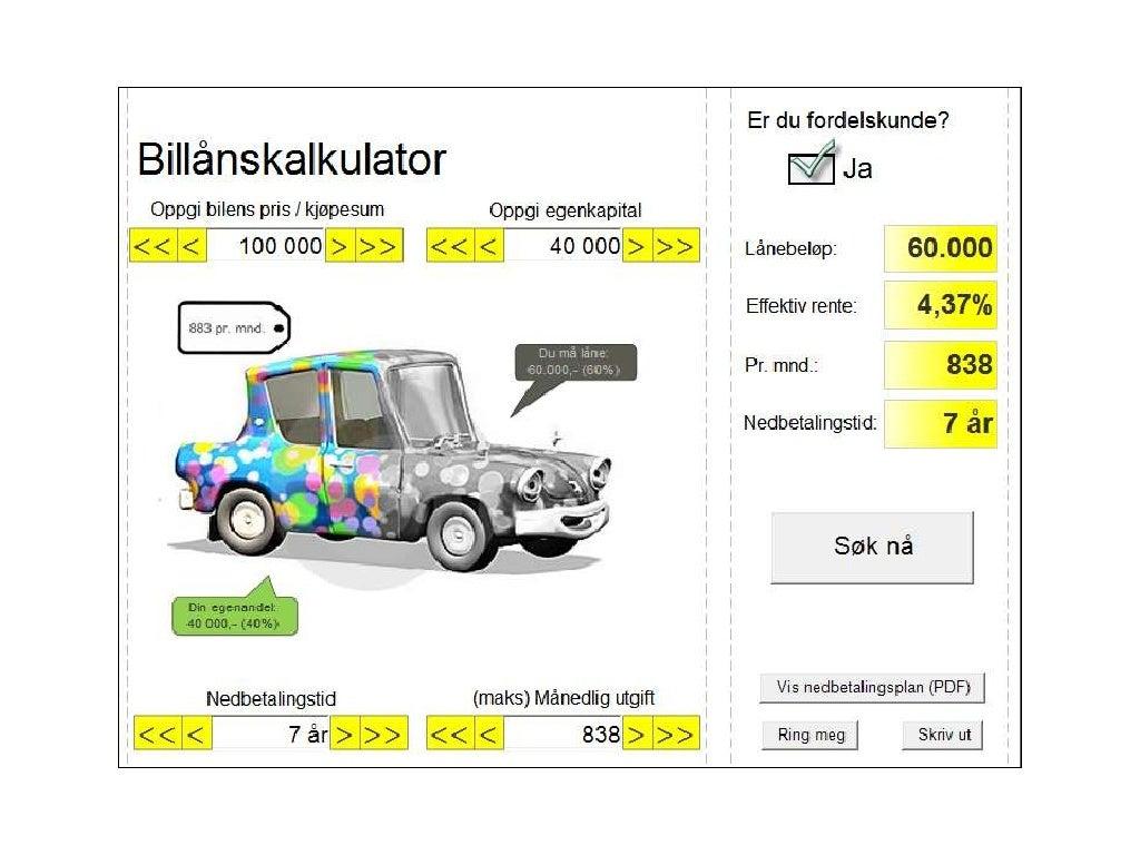 Sparebank 1 Billånskalkulator