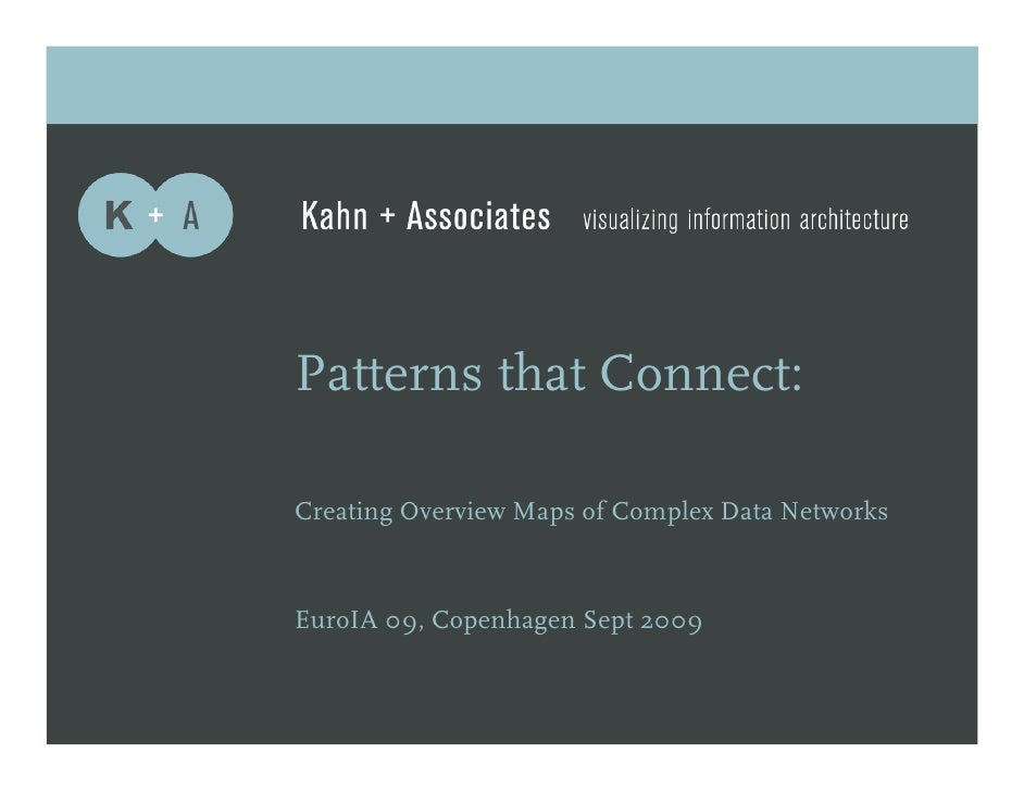 Patterns that Connect:  Creating Overview Maps of Complex Data Networks    EuroIA 09, Copenhagen Sept 2009