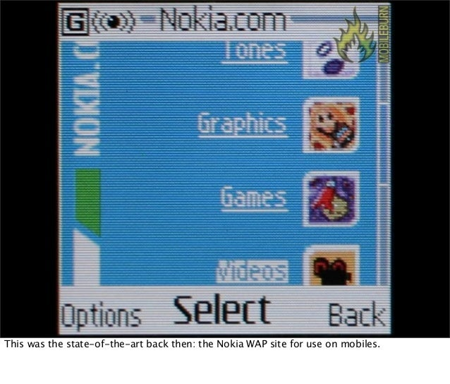 This was the state-of-the-art back then: the Nokia WAP site for use on mobiles.