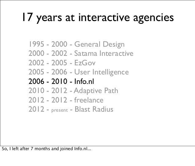 17 years at interactive agencies 1995 - 2000 - General Design 2000 - 2002 - Satama Interactive 2002 - 2005 - EzGov 2005 - ...