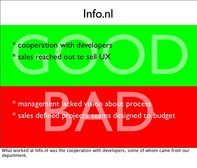 Info.nl GOOD BAD * cooperation with developers * sales reached out to sell UX * management lacked vision about process * s...