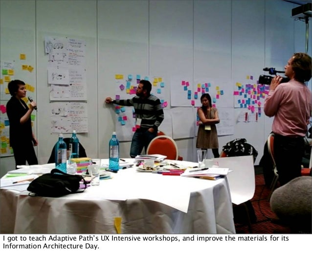 I got to teach Adaptive Path's UX Intensive workshops, and improve the materials for its Information Architecture Day.