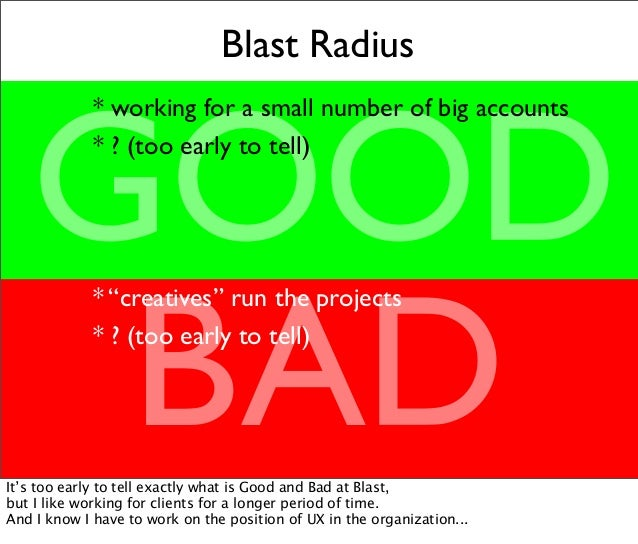 """Blast Radius GOOD BAD * working for a small number of big accounts * ? (too early to tell) * """"creatives"""" run the projects ..."""