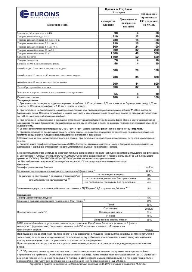 """Тарифа по задължителната застраховка """"Гражданска отговорност"""" на автомобилистите от Евроинс Slide 2"""