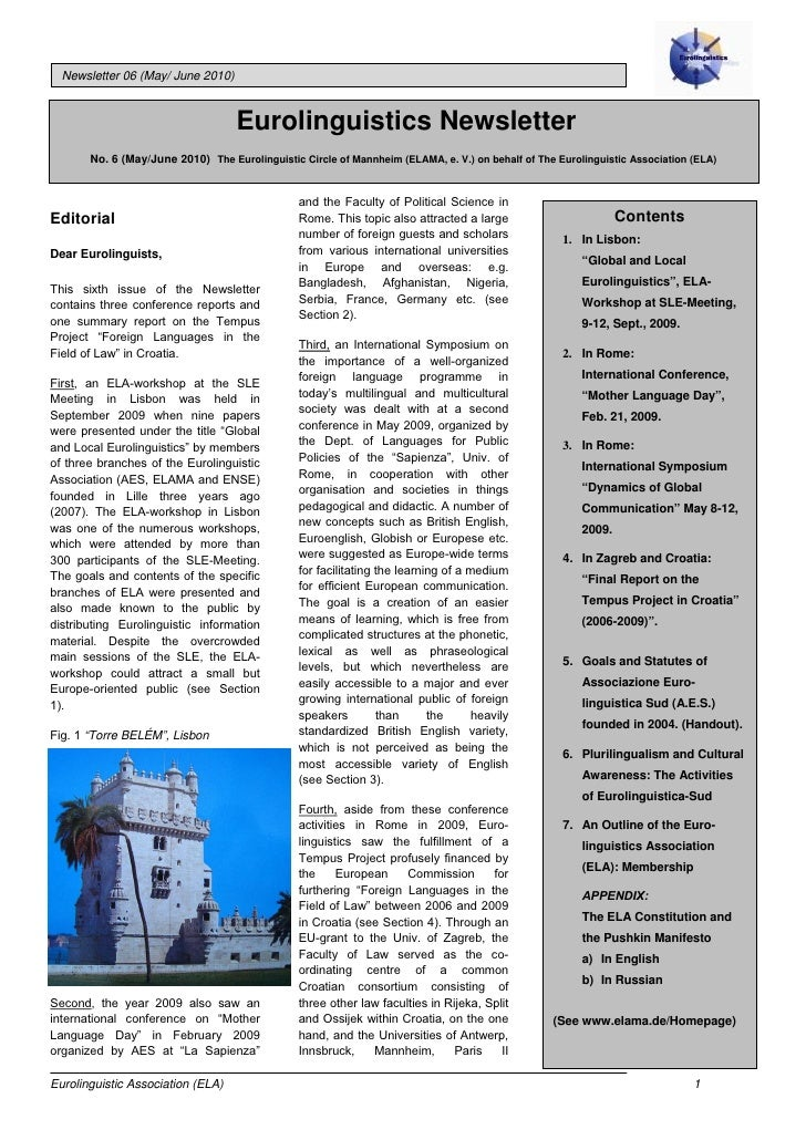 Newsletter 06 (May/ June 2010)                                       Eurolinguistics Newsletter        No. 6 (May/June 201...