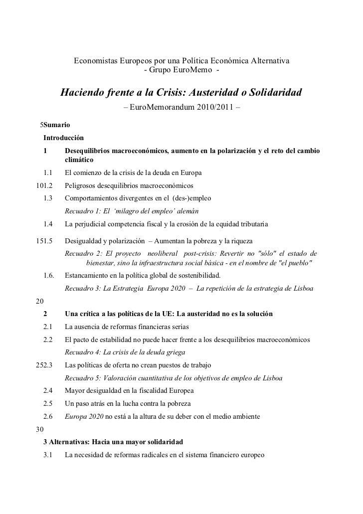 Economistas Europeos por una Política Económica Alternativa                               - Grupo EuroMemo -           Hac...