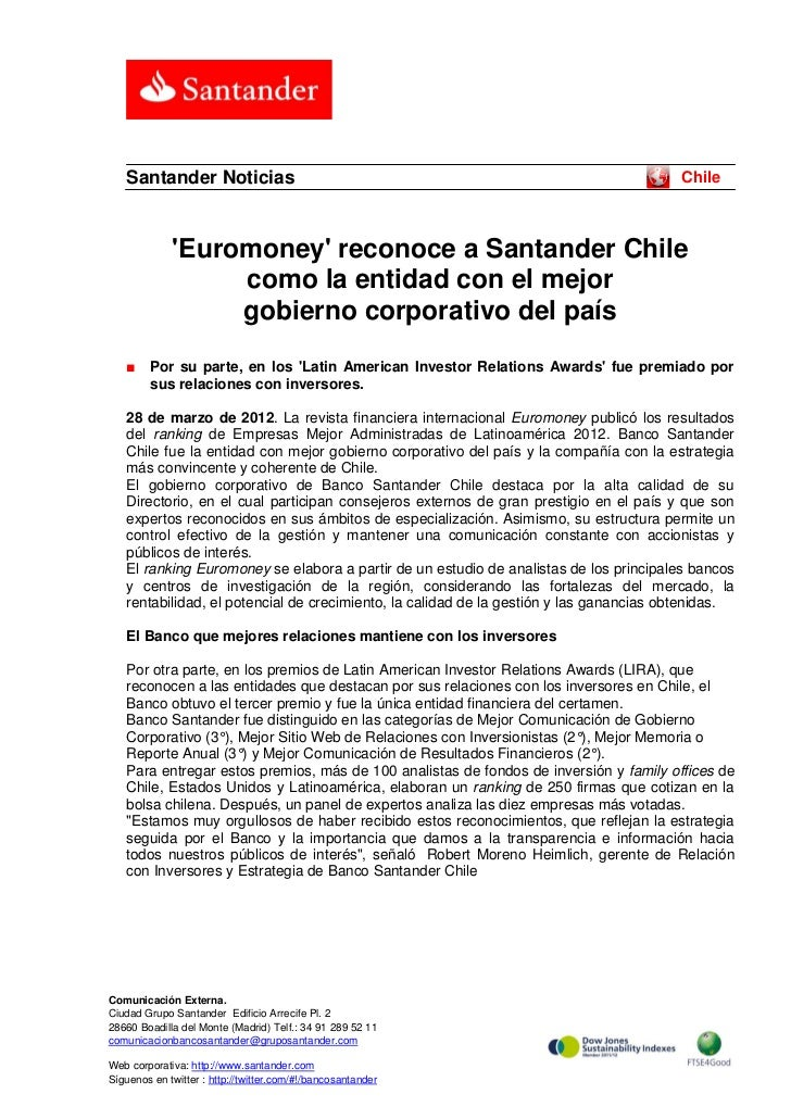 Santander Noticias                                                                   Chile             Euromoney reconoce ...