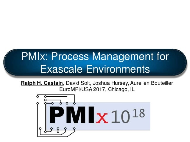 PMIx: Process Management for Exascale Environments Ralph H. Castain, David Solt, Joshua Hursey, Aurelien Bouteiller EuroMP...