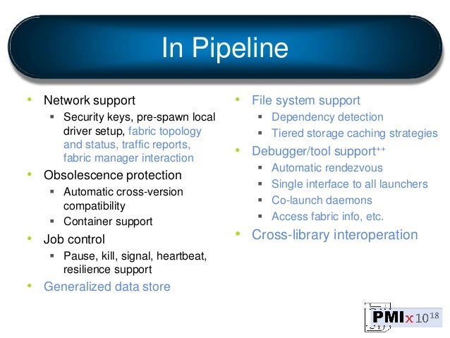 In Pipeline • Network support  Security keys, pre-spawn local driver setup, fabric topology and status, traffic reports, ...