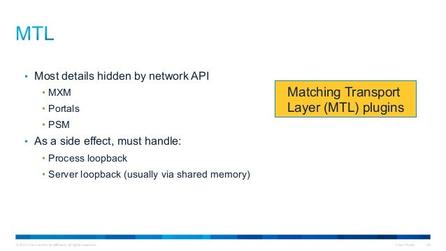© 2015 Cisco and/or its affiliates. All rights reserved. Cisco Public 28 Matching Transport Layer (MTL) plugins • Most de...