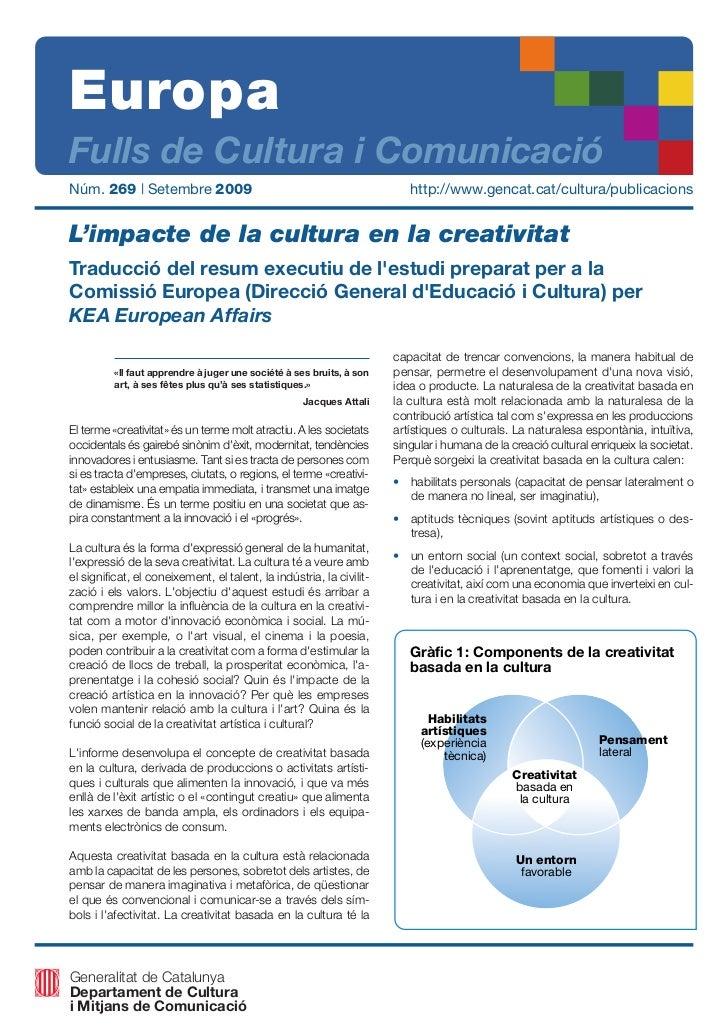 EuropaFulls de Cultura i ComunicacióNúm. 269 | Setembre 2009                                                  http://www.g...