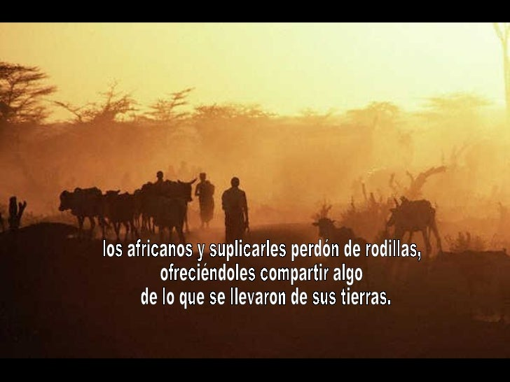 los africanos y suplicarles perdón de rodillas, ofreciéndoles compartir algo de lo que se llevaron de sus tierras.