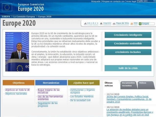 Estrategia 2020: 7 Iniciativas emblemáticas  Crecimiento inteligente  Unión por la innovación  Jóvenes en movimiento  ...