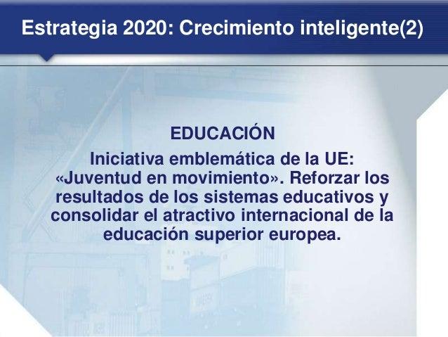 Estrategia 2020: Crecimiento sostenible(1) CLIMA, ENERGÍA Y MOVILIDAD Iniciativa emblemática de la UE: «Una Europa que apr...