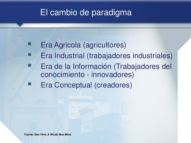 El cambio de paradigma          Era Agricola (agricultores)          Era Industrial (trabajadores industriales)        ...
