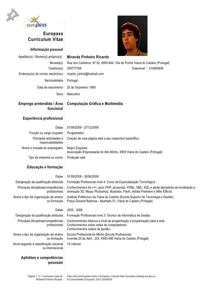 europass curriculum vitae portugues preenchido