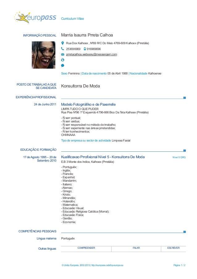 Europass Curriculum Vitae Mit Portugal Mandegar Info