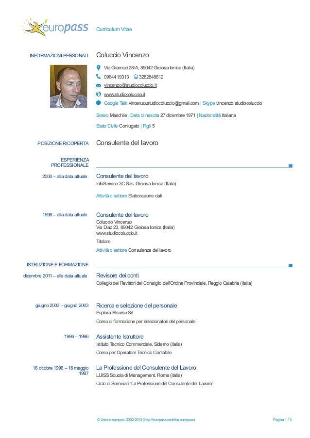 Consigli Curriculum Vitae Europeo Firmakoek