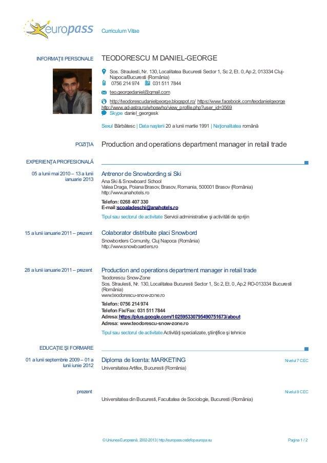 model curriculum vitae european completat