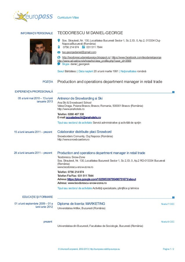 Curriculum Vitae Europass Completat In Romana Www Pmiarica Uta Cl